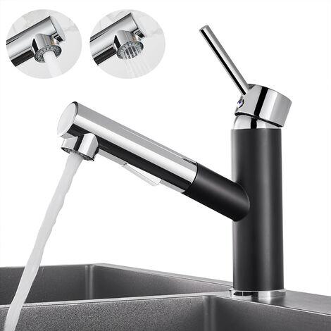 WOOHSE Küchenarmatur mit Ausziehbarer Schlauchbrause | Mischbatterie Küche | Einhebelmischer | Schwenkbereich 360°| Schwarz/Chrom