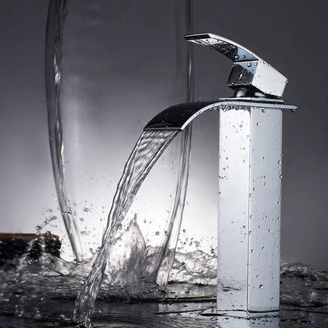 WOOHSE mezclador monomando cascada grifo mezclador de baño grifo alto para lavabo mezclador de baño cromo, adecuado para lavabo sobre encimera