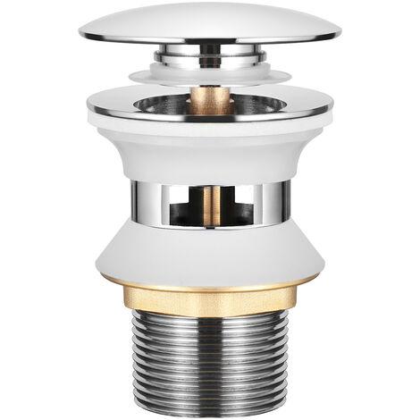 WOOHSE Universal Ablaufgarnitur mit Überlauf POP UP Ablaufventil Push-Open Stöpsel Chrom Abfluss Ventil Messing Abflussgarnitur Spüle Ablauf für Waschtisch Waschbecken Spültisch Spülbecken