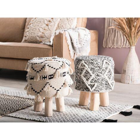Wool Footstool Taupe AGRA II