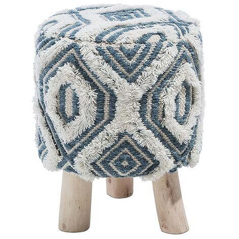 Wool Footstool White and Blue AGRA