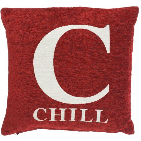 Words cushion, chilli, red chenille jacquard finish