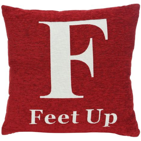 "Words cushion, ""feet up"", red chenille jacquard finish"