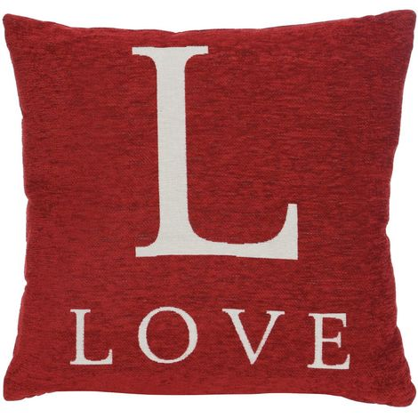 "Words cushion, ""love"", red chenille jacquard finish"