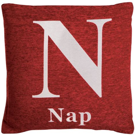 Words cushion, nap, red chenille jacquard finish