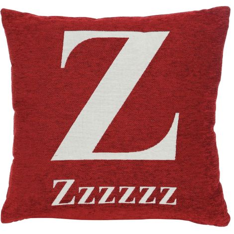 "Words cushion"", red chenille jacquard finish"
