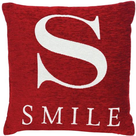 "Words cushion, ""smile"", red chenille jacquard finish"