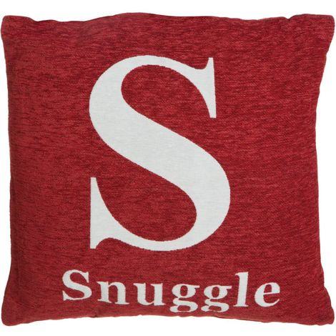 Words cushion, 'snuggle', red chenille jacquard finish