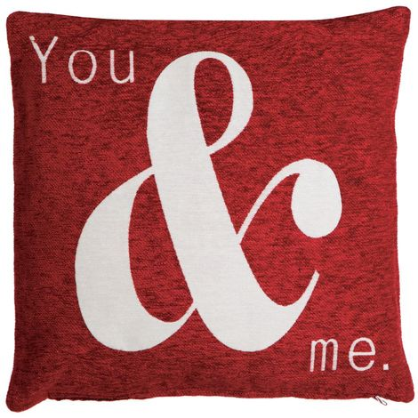 Words cushion, you & me, red chenille jacquard finish