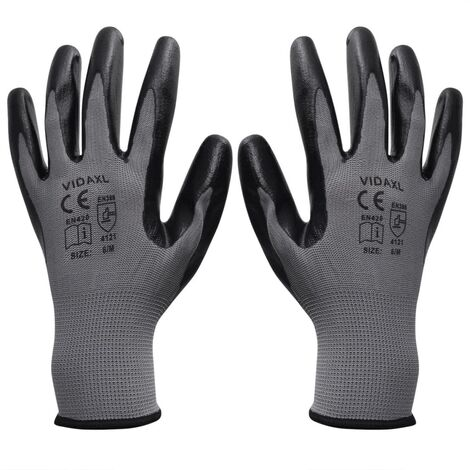 Work Gloves Nitrile 24 Pairs Grey and Black Size 10/XL