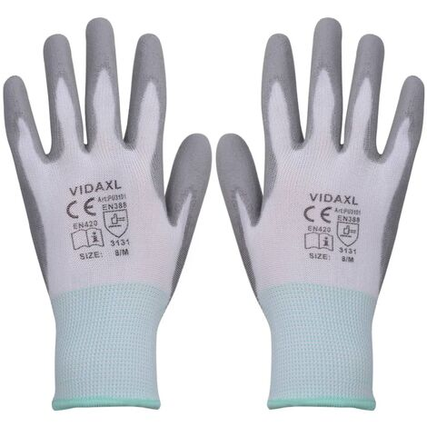 Work Gloves PU 24 Pairs White and Grey Size 8/M