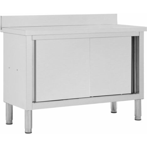 """main image of """"Work Table with Sliding Doors 120x50x95 cm Stainless Steel"""""""