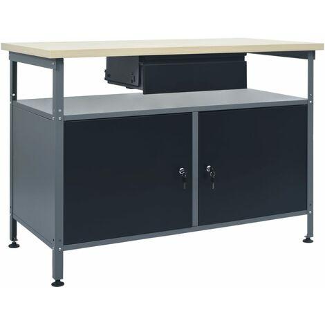 Workbench Black 120x60x85 cm Steel - Black