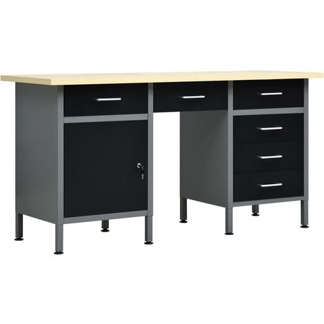 Workbench Black 160x60x85 cm Steel