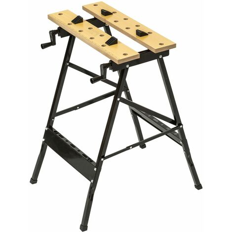 Workbench made of steel and wood - foldable - folding workbench, garage workbench, protable workbench - negro