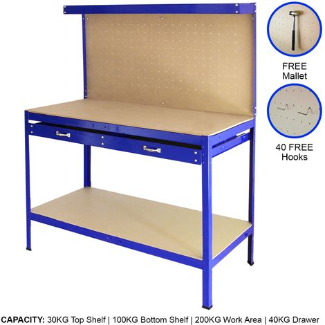 Workbench With Pegboard And Drawer In Blue