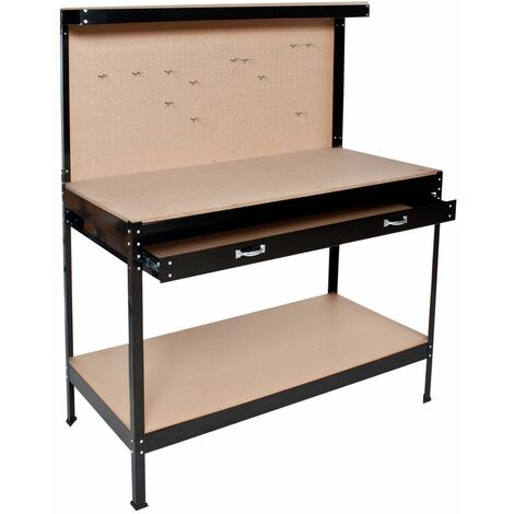 """main image of """"Workbench with pegboard and drawer - woodworking bench, garage workbench, wooden workbench"""""""