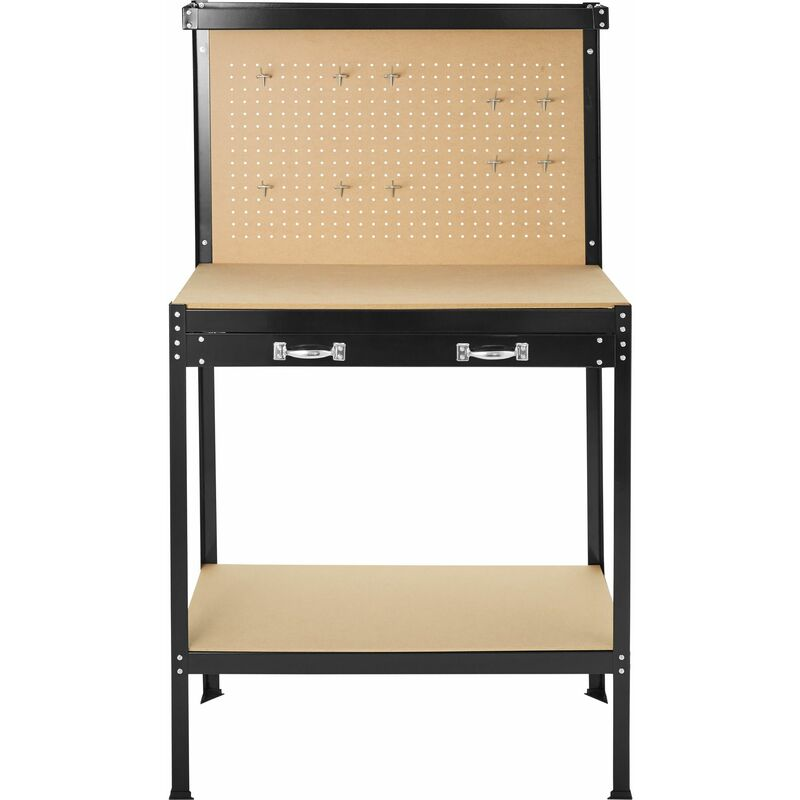 Workbench With Pegboard And Drawer Woodworking Bench Garage Workbench Wooden Workbench 81 X 41 X 145 Cm 402749