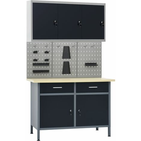 Workbench with Three Wall Panels and One Cabinet