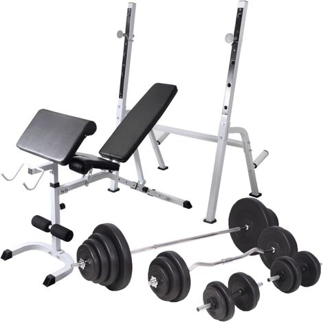 Workout Bench with Weight Rack, Barbell and Dumbbell Set 120 kg
