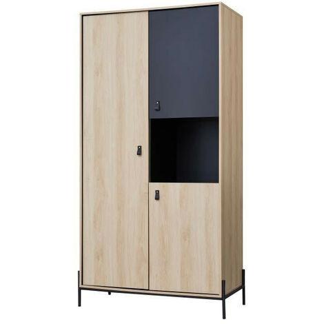 WORKSHOP Armoire de chambre enfant - 3 portes avec penderie et 1 niche - Poignées boucle en pvc - Chene/Noir - L100 x P53x H2…
