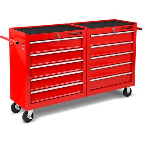 Workshop Tool Cabinet cart wheel trolley tool box (10 ball-bearing drawers, lockable, 4 wheels, parking brake, powder-coated)