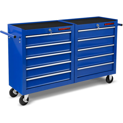 Workshop Tool Cabinet cart wheel trolley tool box (10 ball-bearing drawers, lockable, 4 wheels, parking brake, powder-coated)