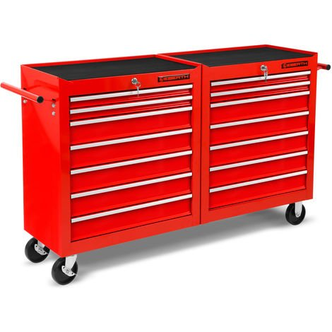 Workshop Tool Cabinet cart wheel trolley tool box (14 ball-bearing drawers, lockable, 4 wheels, parking brake, powder-coated)