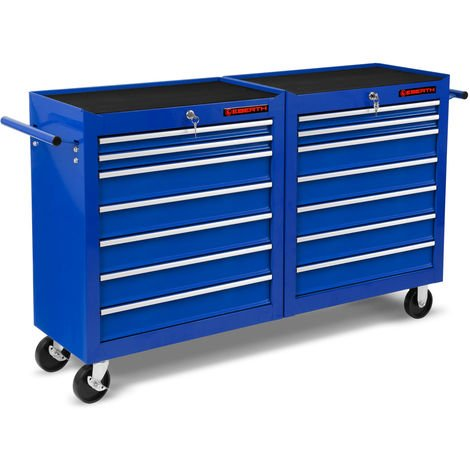 Workshop Tool Cabinet cart wheel trolley tool box (14 ball-bearing drawers, lockable, 4 wheels, parking brake, powder-coated)