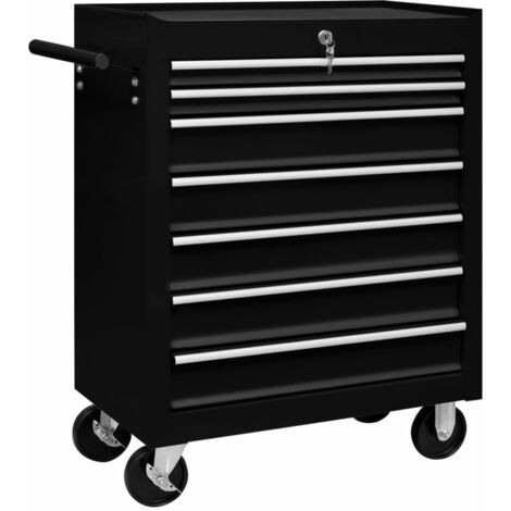 Workshop Tool Trolley with 7 Drawers Black