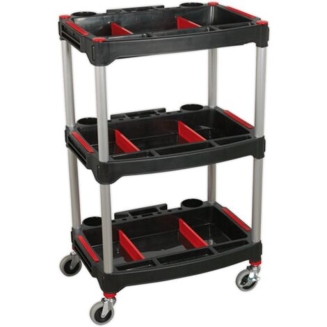 Workshop Trolley 3-Level Composite with Parts Storage