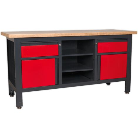 Workstation with 2 Drawers, 2 Cupboards & Open Storage