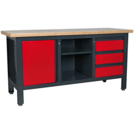 Workstation with 3 Drawers, 1 Cupboard & Open Storage
