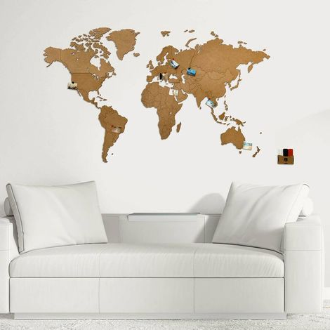 World Map Wall Decoration 130X78cm Brown