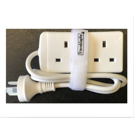 World Wide Travel Adapter CHRISTMAS ISLAND Extension Lead Multi 2 UK Plug to 3 Pin 1m