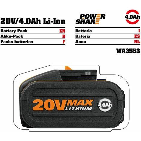 Worx - Batería de litio de 20 V y 4 Ah con indicador de carga