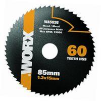 WORX - Disco Multimaterial HSS Worxsaw 85mm 60T para WX423/WX426/WX523