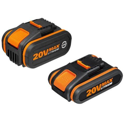 WORX - Pack 20V POWERSHARE - 2 Baterías 20V/2.0Ah & 4.0Ah - WA3605
