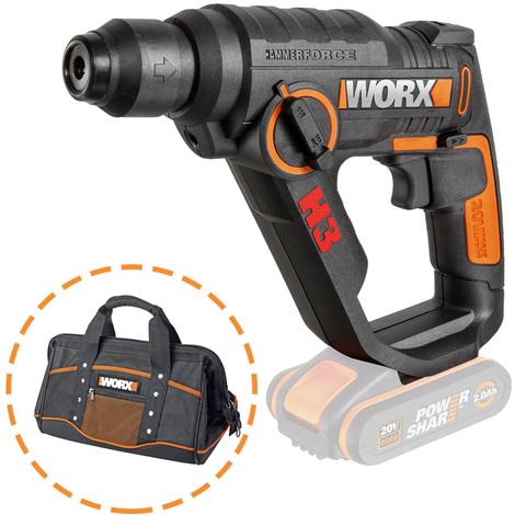 WORX - PACK 3 en 1 - Martillo, Taladro, Atornillador 20V Sin Batería + Bolsa para herramientas - WX390.9+WA0076