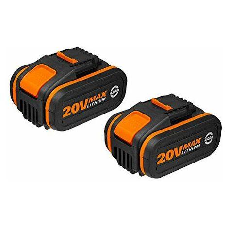 Worx Power Share 20V Batterie Li-Ion Set avec 2x 4000mAh Batterie, 1pièce, wa3553.2