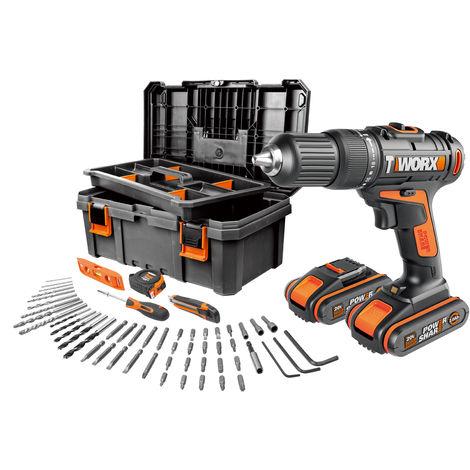 WORX - Taladro Percutor 20V 2,0Ah 2bat + caja herramientas - WX371.5