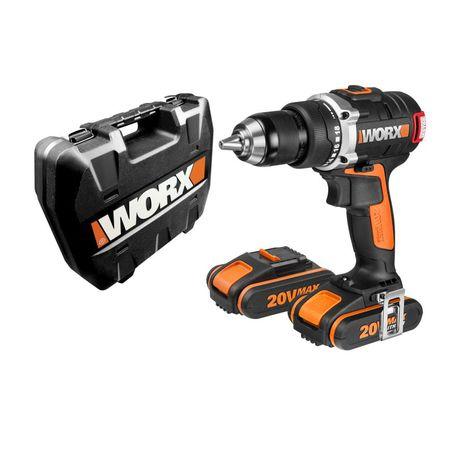 """worx - trapano avvitatore """"wx175"""" con motore brushless con 2 batterie al litio 20v."""