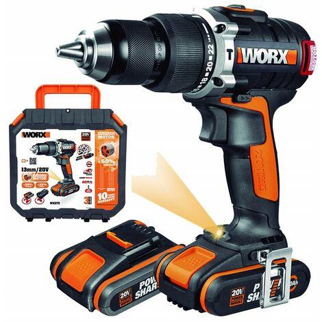 WORX WX373 Taladro Percutor, 2000 W, 20 V, Negro + 2 Baterias + Cargador