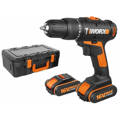 WORX WX385.1 Taladro/Atornillador/Martillo a batería 12V, Enería de Impacto 1J, 4800ipm, SDS, 2 Brocas HSS, 4 Puntas, 1 Portabrocas de atornillar