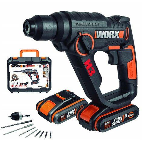 Worx Wx390.1 Martillo Atornillador, Negro +2 Baterias + Cargador