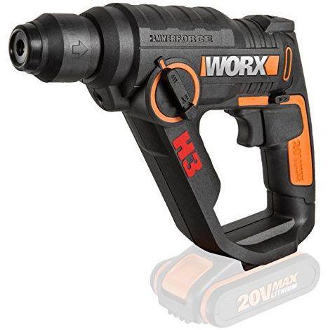 Worx wx390.920V SDS Plus Marteau perforateur, Foret de batterie, visseuse à percussion, 1,2Joule Force de frappe, 5,000BPM, vitesse de 900tours/min, lumière, 1pièce, de travail sans batterie, chargeur et accessoi