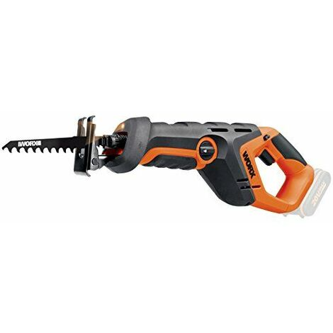 Worx wx508.920V Batterie Scie sabre, vitesse 3,000tr/min, 22mm Longueur de course, travail Lumière, pendulaire, 1pièce, sans batterie, chargeur et accessoires, orange/noir