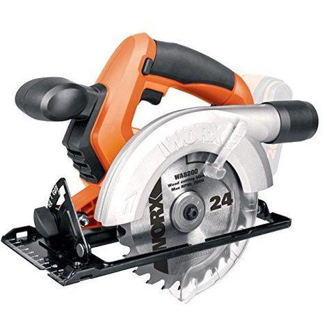 Worx wx529.920V Scie circulaire rechargeable, 45mm Profondeur de coupe ø 150mm feuilles, vitesse 3,000tr/min, 1pièce, sans batterie, chargeur et accessoires, orange/noir