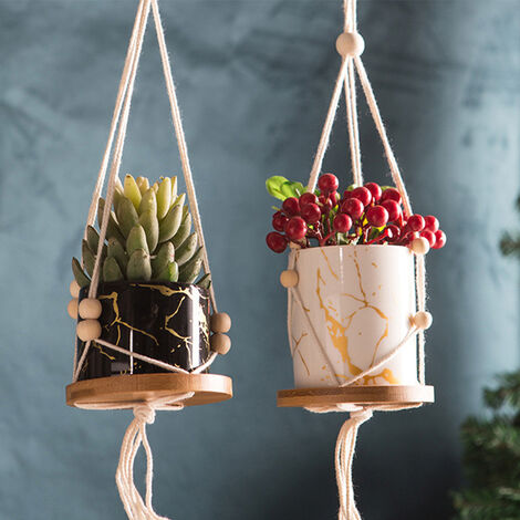 Woven Rope Ceramic Pot Wall Hanging Basket With Wooden Pallet, Black