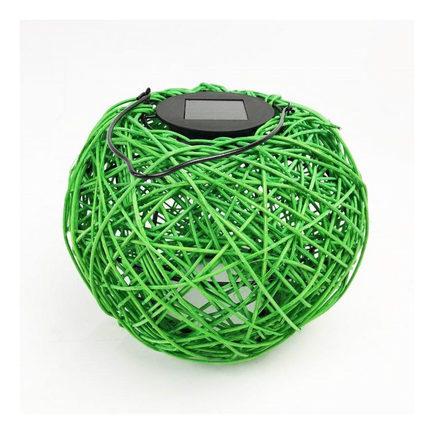 Image of Benross - Woven Solar LED Lantern Green